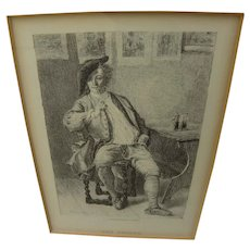 "After renowned French artist JEAN-LOUIS-ERNEST MEISSONIER (1815-1891) fine etching ""The Smoker"""