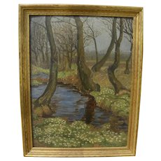 Impressionist vintage landscape painting creek and trees