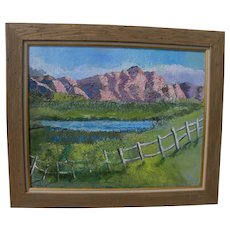 Large signed 1989 impressionist landscape painting mountains and meadow
