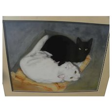 Signed watercolor 1987 painting of black and white cats