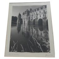 Chateau de Chenonceau black and white signed vintage photograph Loire Valley