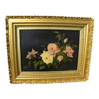 American antique circa 1900 painting of roses