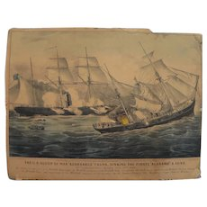 "CURRIER & IVES original 19th century lithograph print ""The U.S. Sloop of War Kearsarge 7 Guns..."""""