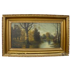 American circa 1900 Hudson River style painting of peaceful creek and woods