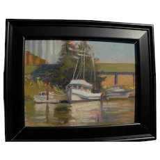 American impressionist painting of small boats at a dock