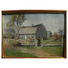 GEORGE SELDEN ROORBACH (1860-1930) oil painting of New England homestead dated 1892