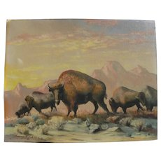 HARVEY W. BURNS (1902-1991) western American painting of bison in landscape by listed California artist