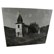 Black and white 1983 photograph of San Patricio Church, Hondo, New Mexico by Cole-Hight