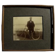 Vintage original photograph of 1890's bicyclist
