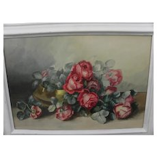 Vintage large watercolor painting of roses circa 1900