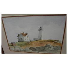 Maine lighthouse watercolor painting by contemporary gallery artist 1986