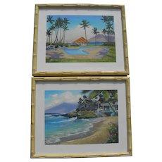 Pair contemporary Hawaiian Maui landscape paintings by ROBERT WEARN