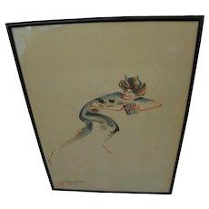 CHIURA OBATA (1885-1975) watercolor painting of Kabuki actor by important Japanese-California artist