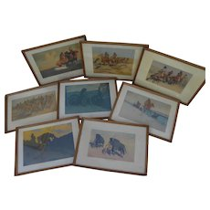 FREDERIC REMINGTON (1861-1909) famous western American artist eight color vintage collotype prints 1909