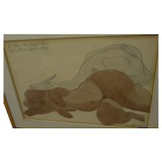 DOUGLAS BROWN (1904-1952) fine watercolor and pencil drawing 1932 Haiti by noted American artist
