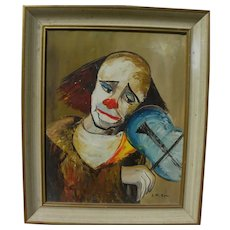 Signed clown painting mid century Retro style