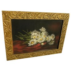 Circa 1890 Victorian style pastel still life daisies on red cloth