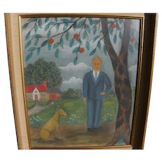 LAWRENCE LEBDUSKA (1894-1966) whimsical landscape naive drawing  by noted outsider American artist