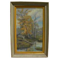 Impressionist American painting creek in autumn