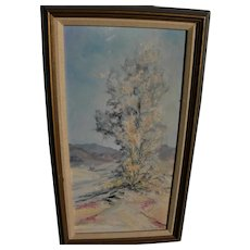Vintage California desert painting signed M. Gustafson