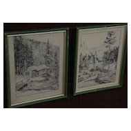 PAIR of Colorado art 1936 ink drawing landscapes, signed