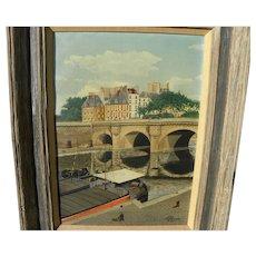Paris naive style 1953 painting signed L FLORGUIN