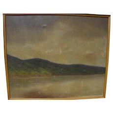 SZEPESI KUSZKA JENO (1885-1948) Hungarian art painting lake mountain landscape