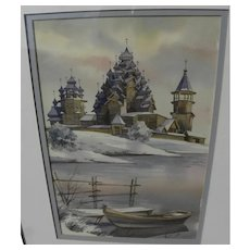 Russian signed contemporary watercolor painting of Orthodox church in winter landscape