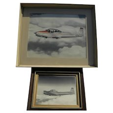 Vintage aerial photography PAIR photographs of 1940's airplanes by noted photographer