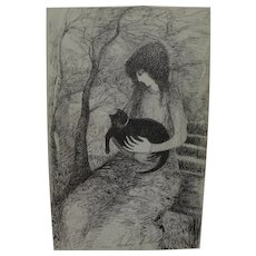 BARBARA A. WOOD (20th century California) pencil signed numbered print girl holding black cat