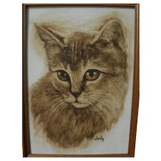Painting of a tabby cat well executed likeness