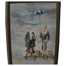 JOHN MORRIS (1920-1991) original painting clowns on a dock surrealist whimsy scene