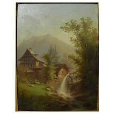 FERDINAND SOMMER (1822-1901) Swiss art poetic landscape house and water wheel in mountains