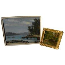 BERTRAM BRYNING (1875-1960) **pair** landscape paintings by listed Australian artist