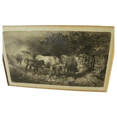 """PETER MORAN (1841-1914) etching of herded cattle in storm """"Showery Weather"""" 1889"""