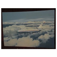 R.G. SMITH (1914-2001) HIGHLY IMPORTANT American aviation art LARGE painting of the Douglas family of aircraft
