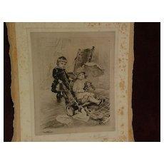 RUDOLF ERNST (1854-1932) major Austrian orientalist artist pencil signed etching of children playing