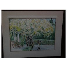 Colorful American impressionist watercolor painting circa 1930's or 1940's