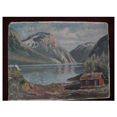 Scandinavian art Norwegian fjord painting signed JENS OYME