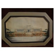 Unusual circa 1920s detailed architectural drawing in watercolor of ornate public building