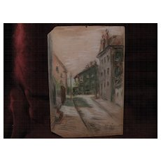 Midwestern American art 1901 pastel drawing of a city lane signed E. R. VAN DEMAN