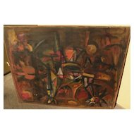 Large abstract painting circa 1960s style of Roberto Matta