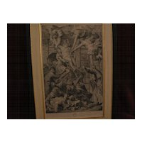 Old master 18th century print large classical scene detailed 1720 copper engraving Descent From the Cross