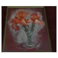 WAYNE LA COM (1922-) California listed art floral still life pastel drawing