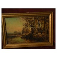 FRANK CLARK BROMLEY (1859-1890) American 19th century art tonalist landscape painting Illinois artist