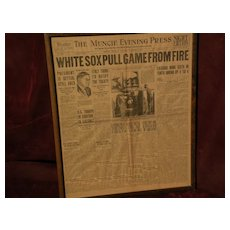 Chicago Black Sox 1919 baseball sports memorabilia front page of newspaper World Series
