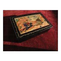Decorative Russian folk art contemporary lacquer box impressive design