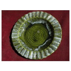 WADE CALIFORNIA pottery ceramic dish rich green with interesting glaze