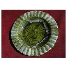 WADE CALIFORNIA pottery ceramic dish rich green with interesting glaze