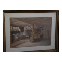 WALTER TOMLINSON 19th century English Victorian art superb large watercolor painting of Ann Hathaway's Cottage
